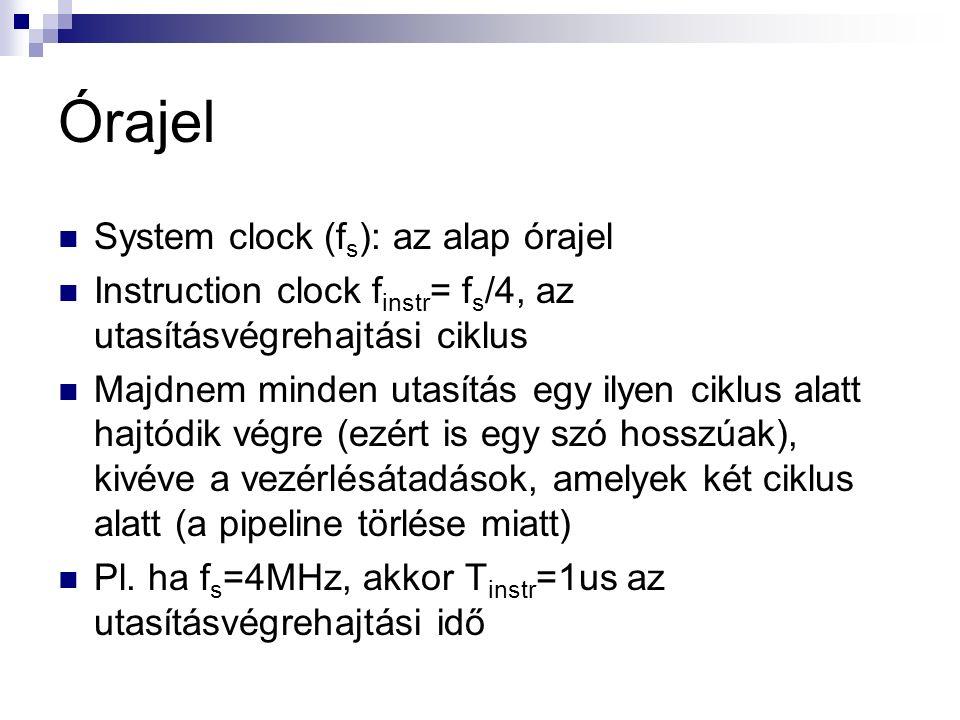 Órajel System clock (f s ): az alap órajel Instruction clock f instr = f s /4, az utasításvégrehajtási ciklus Majdnem minden utasítás egy ilyen ciklus alatt hajtódik végre (ezért is egy szó hosszúak), kivéve a vezérlésátadások, amelyek két ciklus alatt (a pipeline törlése miatt) Pl.