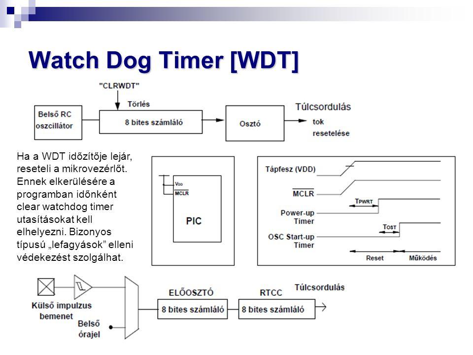 Watch Dog Timer [WDT] Ha a WDT időzítője lejár, reseteli a mikrovezérlőt.