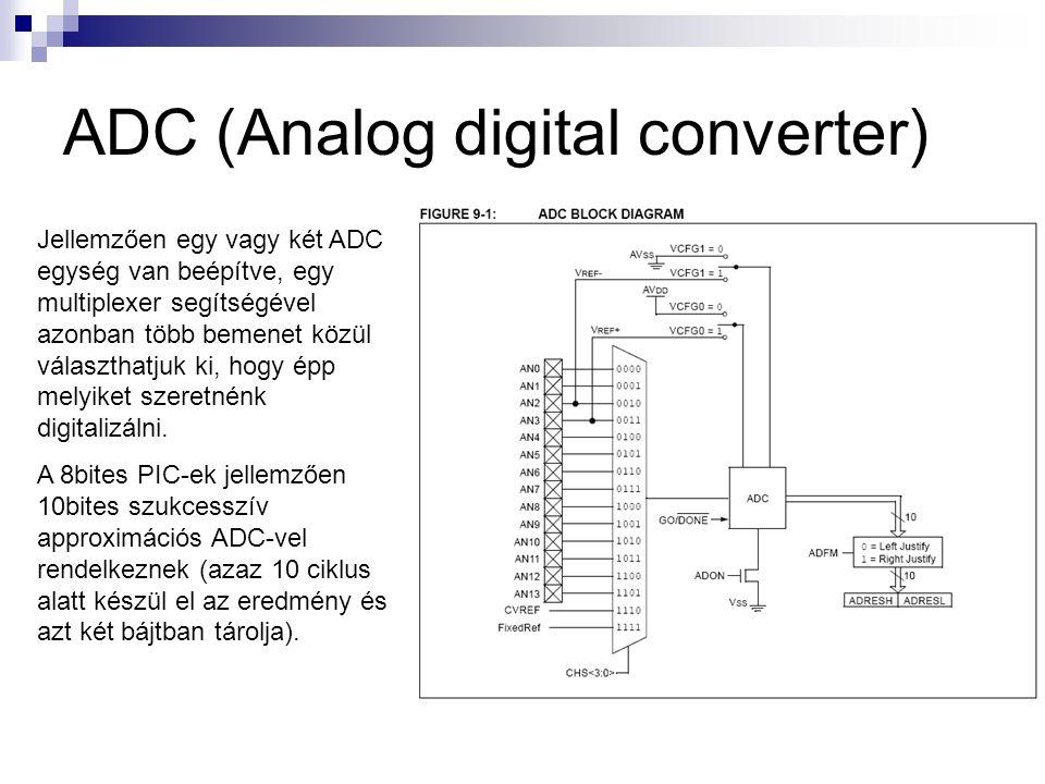 ADC (Analog digital converter) Jellemzően egy vagy két ADC egység van beépítve, egy multiplexer segítségével azonban több bemenet közül választhatjuk ki, hogy épp melyiket szeretnénk digitalizálni.