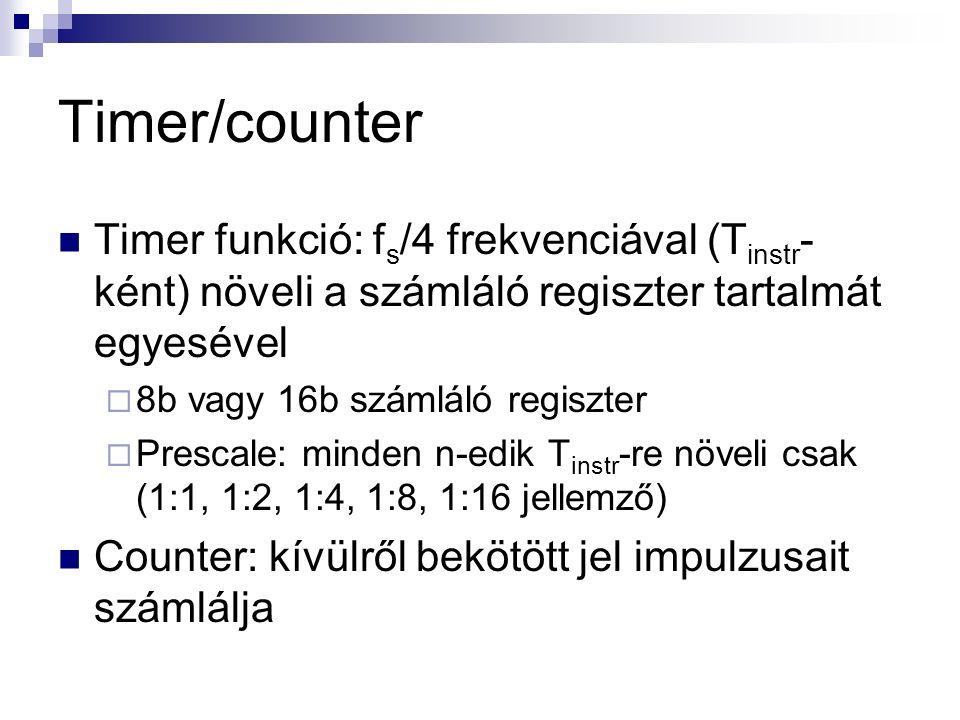 Timer/counter Timer funkció: f s /4 frekvenciával (T instr - ként) növeli a számláló regiszter tartalmát egyesével  8b vagy 16b számláló regiszter  Prescale: minden n-edik T instr -re növeli csak (1:1, 1:2, 1:4, 1:8, 1:16 jellemző) Counter: kívülről bekötött jel impulzusait számlálja