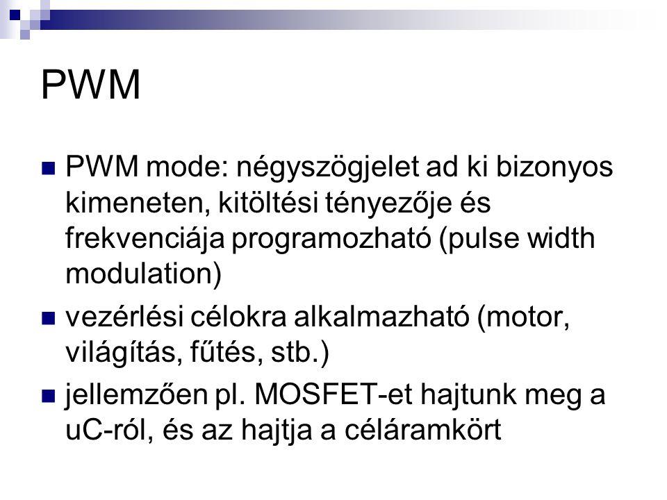PWM PWM mode: négyszögjelet ad ki bizonyos kimeneten, kitöltési tényezője és frekvenciája programozható (pulse width modulation) vezérlési célokra alkalmazható (motor, világítás, fűtés, stb.) jellemzően pl.