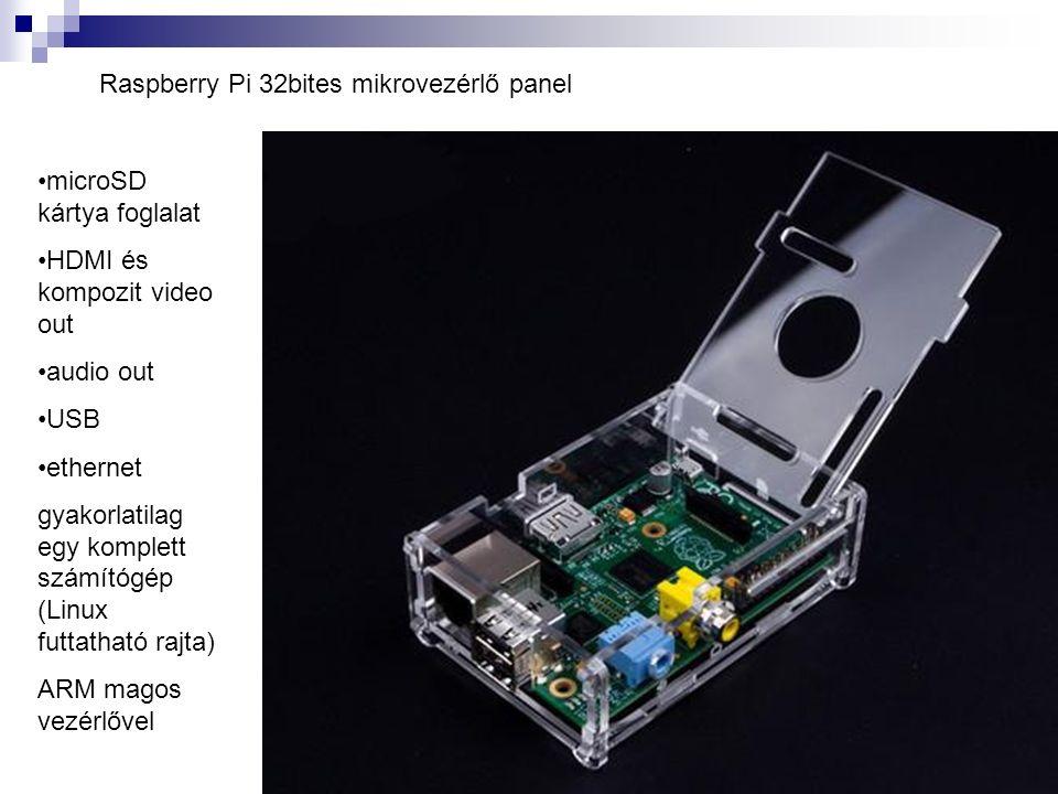Raspberry Pi 32bites mikrovezérlő panel microSD kártya foglalat HDMI és kompozit video out audio out USB ethernet gyakorlatilag egy komplett számítógép (Linux futtatható rajta) ARM magos vezérlővel