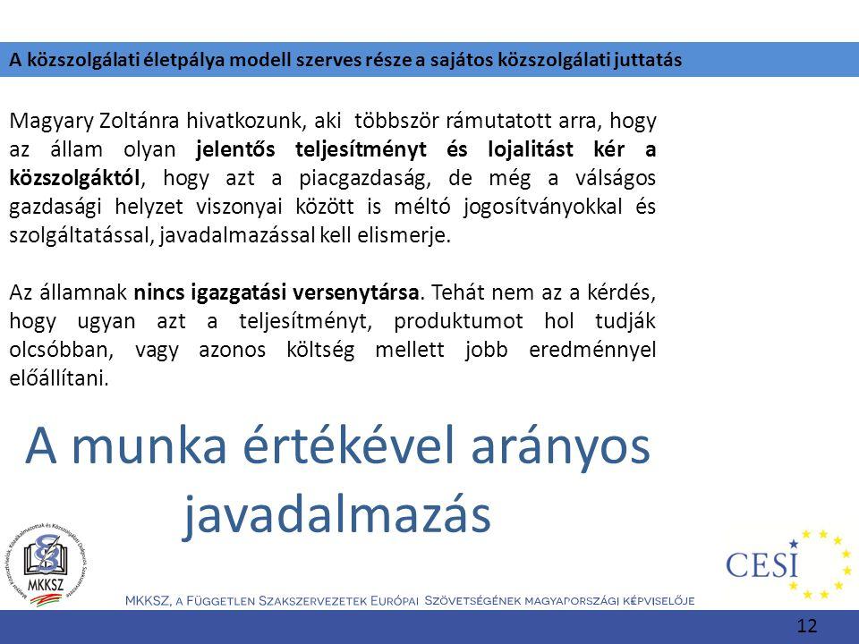 A közszolgálati életpálya modell szerves része a sajátos közszolgálati juttatás Magyary Zoltánra hivatkozunk, aki többször rámutatott arra, hogy az ál