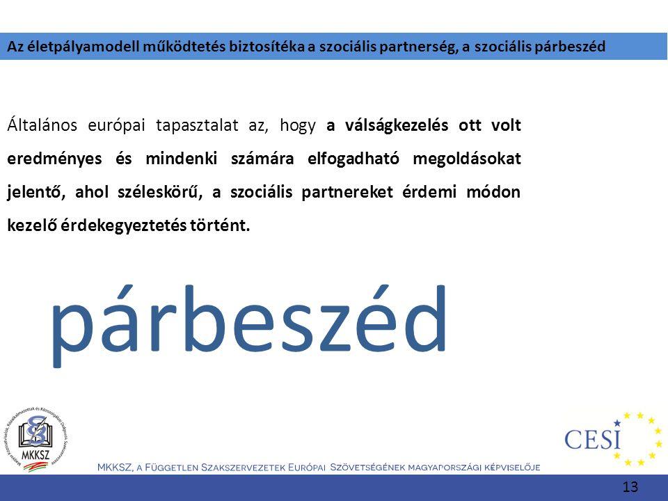 Az életpályamodell működtetés biztosítéka a szociális partnerség, a szociális párbeszéd Általános európai tapasztalat az, hogy a válságkezelés ott vol