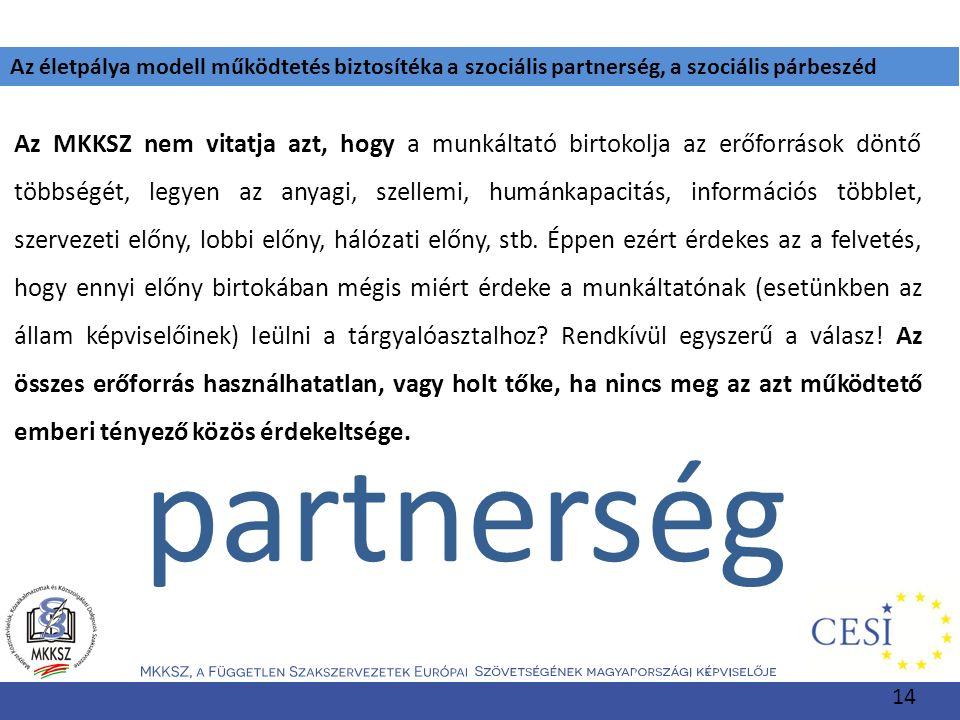 Az életpálya modell működtetés biztosítéka a szociális partnerség, a szociális párbeszéd Az MKKSZ nem vitatja azt, hogy a munkáltató birtokolja az erő