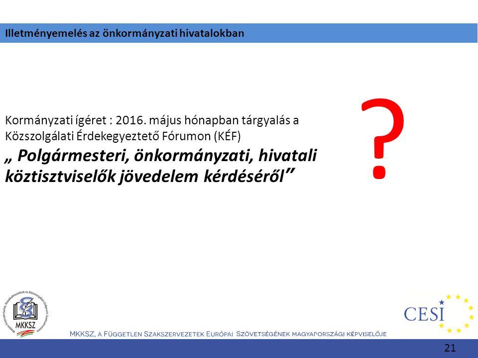"""Illetményemelés az önkormányzati hivatalokban Kormányzati ígéret : 2016. május hónapban tárgyalás a Közszolgálati Érdekegyeztető Fórumon (KÉF) """" Polgá"""