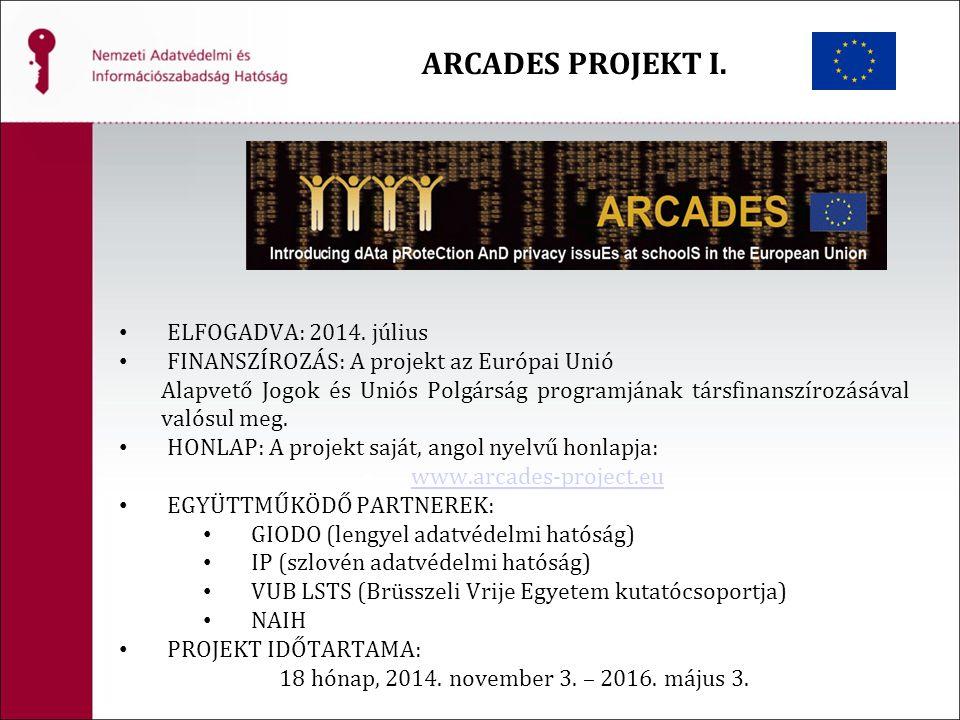 ARCADES PROJEKT I. ELFOGADVA: 2014. július FINANSZÍROZÁS: A projekt az Európai Unió Alapvető Jogok és Uniós Polgárság programjának társfinanszírozásáv
