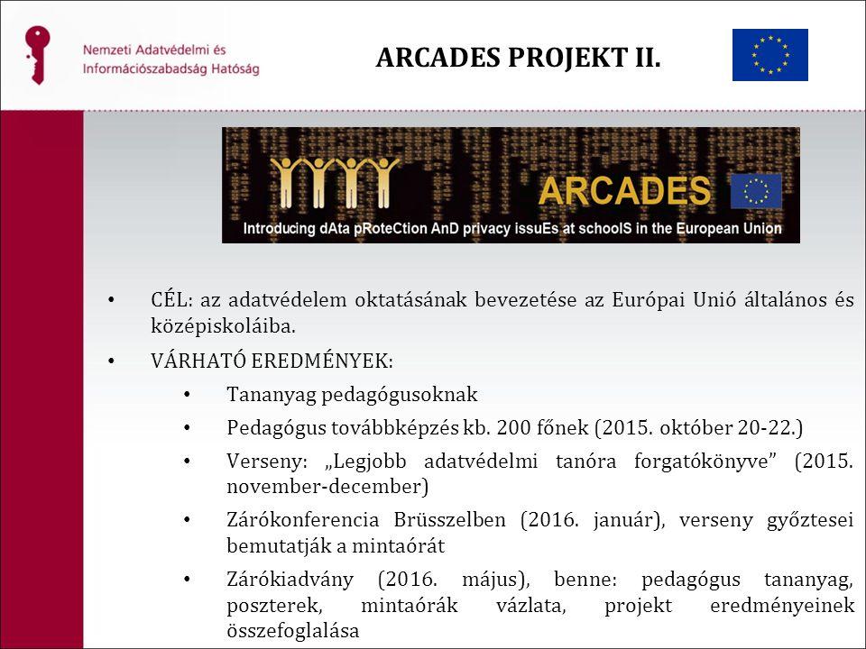 ARCADES PROJEKT II. CÉL: az adatvédelem oktatásának bevezetése az Európai Unió általános és középiskoláiba. VÁRHATÓ EREDMÉNYEK: Tananyag pedagógusokna