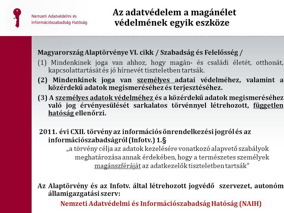 Az adatvédelem a magánélet védelmének egyik eszköze Magyarország Alaptörvénye VI. cikk / Szabadság és Felelősség / (1) Mindenkinek joga van ahhoz, hog