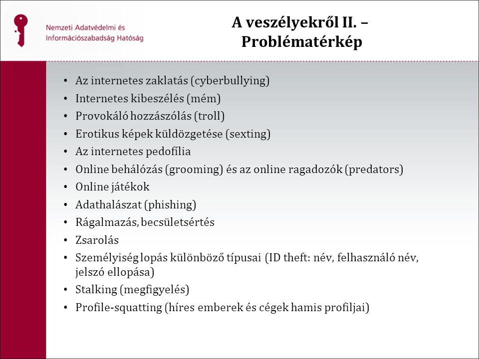 A veszélyekről II. – Problématérkép Az internetes zaklatás (cyberbullying) Internetes kibeszélés (mém) Provokáló hozzászólás (troll) Erotikus képek kü