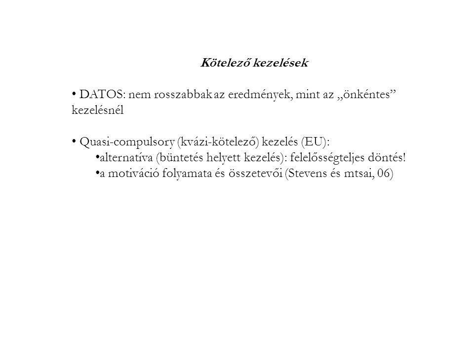 """Kötelező kezelések DATOS: nem rosszabbak az eredmények, mint az """"önkéntes kezelésnél Quasi-compulsory (kvázi-kötelező) kezelés (EU): alternatíva (büntetés helyett kezelés): felelősségteljes döntés."""