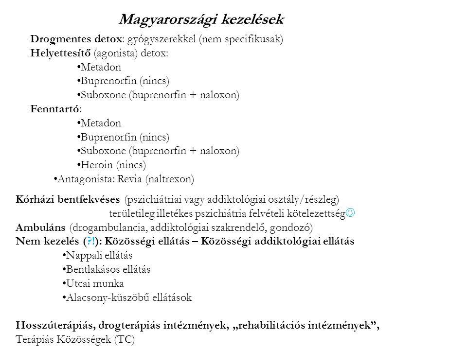 """Drogmentes detox: gyógyszerekkel (nem specifikusak) Helyettesítő (agonista) detox: Metadon Buprenorfin (nincs) Suboxone (buprenorfin + naloxon) Fenntartó: Metadon Buprenorfin (nincs) Suboxone (buprenorfin + naloxon) Heroin (nincs) Antagonista: Revia (naltrexon) Kórházi bentfekvéses (pszichiátriai vagy addiktológiai osztály/részleg) területileg illetékes pszichiátria felvételi kötelezettség Ambuláns (drogambulancia, addiktológiai szakrendelő, gondozó) Nem kezelés ( !): Közösségi ellátás – Közösségi addiktológiai ellátás Nappali ellátás Bentlakásos ellátás Utcai munka Alacsony-küszöbű ellátások Hosszúterápiás, drogterápiás intézmények, """"rehabilitációs intézmények , Terápiás Közösségek (TC) Magyarországi kezelések"""
