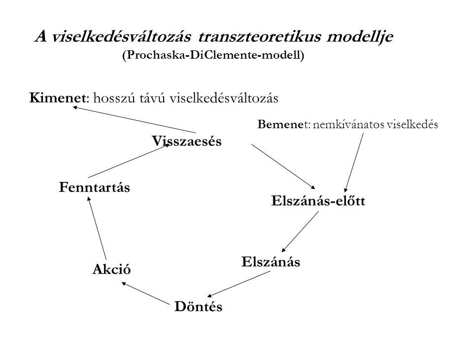 A viselkedésváltozás transzteoretikus modellje (Prochaska-DiClemente-modell) Visszaesés Elszánás-előtt Elszánás Döntés Akció Fenntartás Kimenet: hosszú távú viselkedésváltozás Bemenet: nemkívánatos viselkedés
