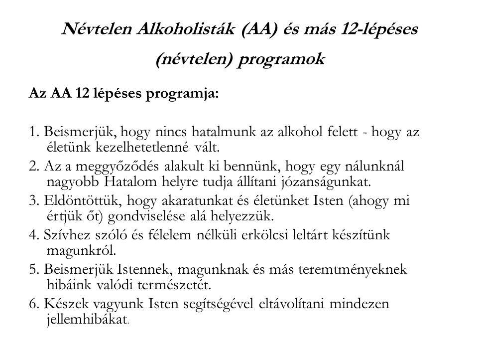 Névtelen Alkoholisták (AA) és más 12-lépéses (névtelen) programok Az AA 12 lépéses programja: 1.
