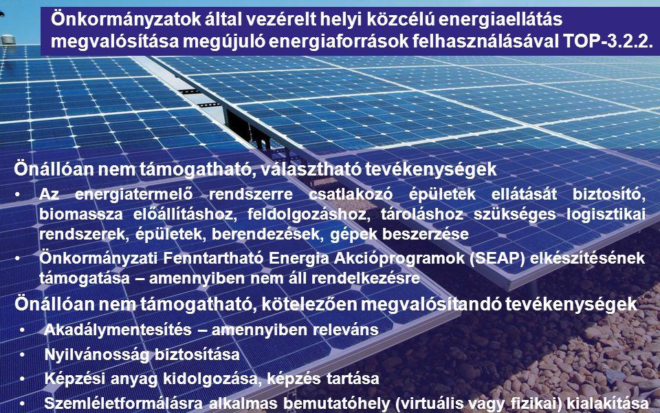 Önállóan nem támogatható, választható tevékenységek Az energiatermelő rendszerre csatlakozó épületek ellátását biztosító, biomassza előállításhoz, feldolgozáshoz, tároláshoz szükséges logisztikai rendszerek, épületek, berendezések, gépek beszerzése Önkormányzati Fenntartható Energia Akcióprogramok (SEAP) elkészítésének támogatása – amennyiben nem áll rendelkezésre Önkormányzatok által vezérelt helyi közcélú energiaellátás megvalósítása megújuló energiaforrások felhasználásával TOP-3.2.2.