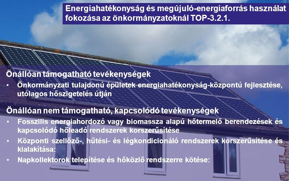 Önállóan támogatható tevékenységek Önkormányzati tulajdonú épületek energiahatékonyság-központú fejlesztése, utólagos hőszigetelés útján Energiahatékonyság és megújuló-energiaforrás használat fokozása az önkormányzatoknál TOP-3.2.1.