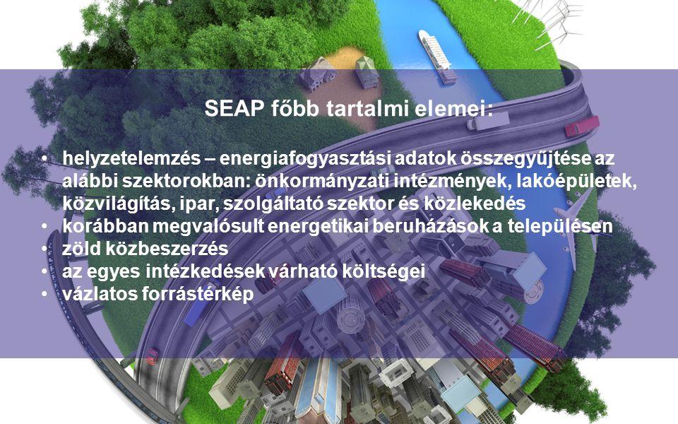 helyzetelemzés – energiafogyasztási adatok összegyűjtése az alábbi szektorokban: önkormányzati intézmények, lakóépületek, közvilágítás, ipar, szolgáltató szektor és közlekedés korábban megvalósult energetikai beruházások a településen zöld közbeszerzés az egyes intézkedések várható költségei vázlatos forrástérkép SEAP főbb tartalmi elemei: