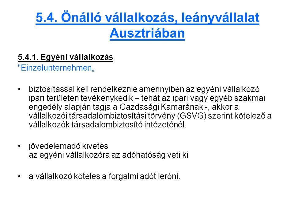 5.4. Önálló vállalkozás, leányvállalat Ausztriában 5.4.1.
