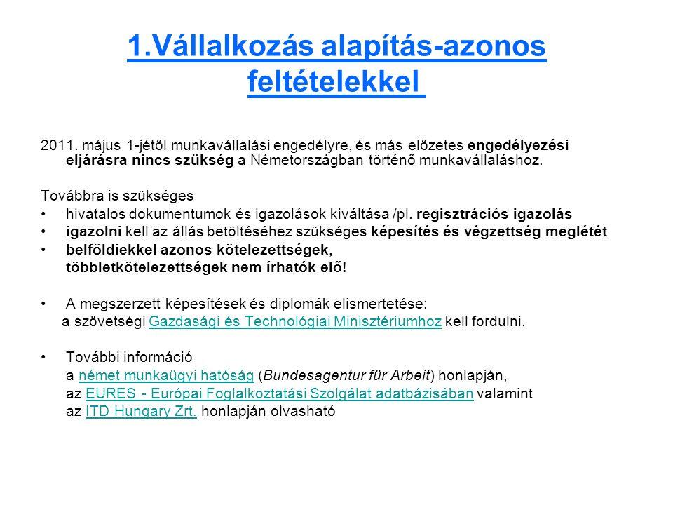 1.Vállalkozás alapítás-azonos feltételekkel 2011.