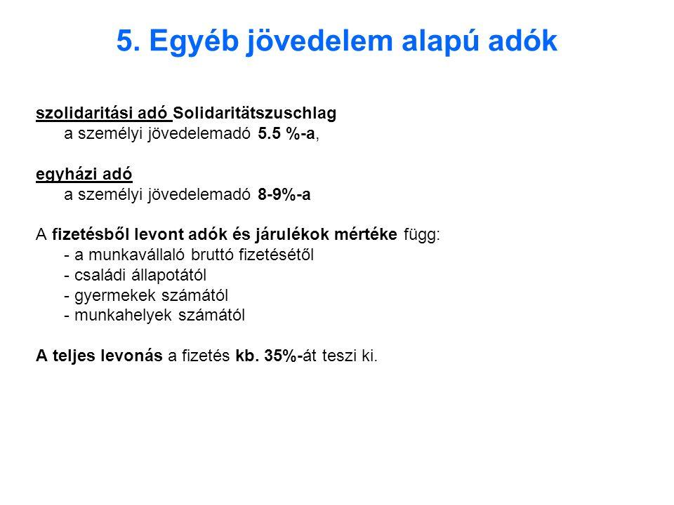 5. Egyéb jövedelem alapú adók szolidaritási adó Solidaritätszuschlag a személyi jövedelemadó 5.5 %-a, egyházi adó a személyi jövedelemadó 8-9%-a A fiz