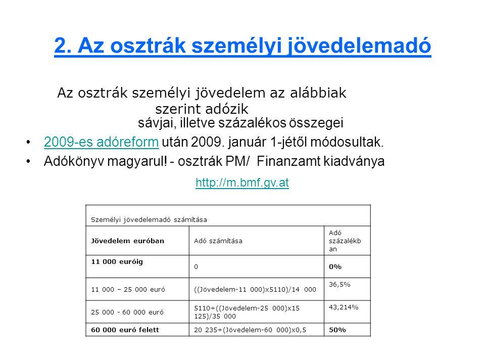 2. Az osztrák személyi jövedelemadó sávjai, illetve százalékos összegei 2009-es adóreform után 2009. január 1-jétől módosultak.2009-es adóreform Adókö