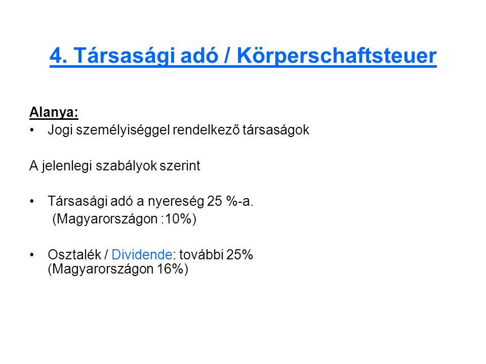 4. Társasági adó / Körperschaftsteuer Alanya: Jogi személyiséggel rendelkező társaságok A jelenlegi szabályok szerint Társasági adó a nyereség 25 %-a.