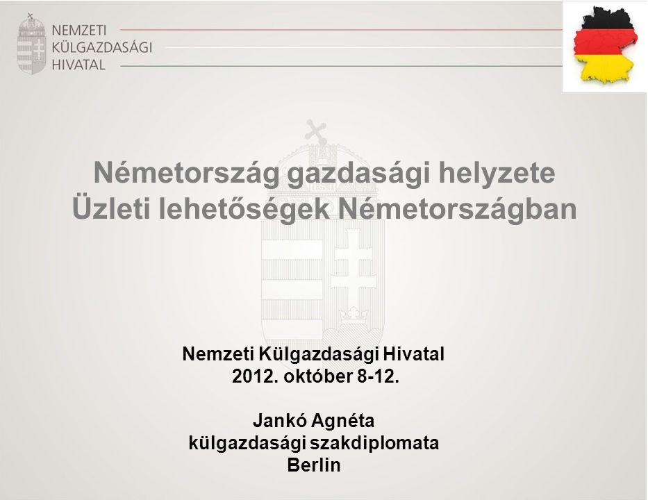Nemzeti Külgazdasági Hivatal 2012. október 8-12. Jankó Agnéta külgazdasági szakdiplomata Berlin Németország gazdasági helyzete Üzleti lehetőségek Néme