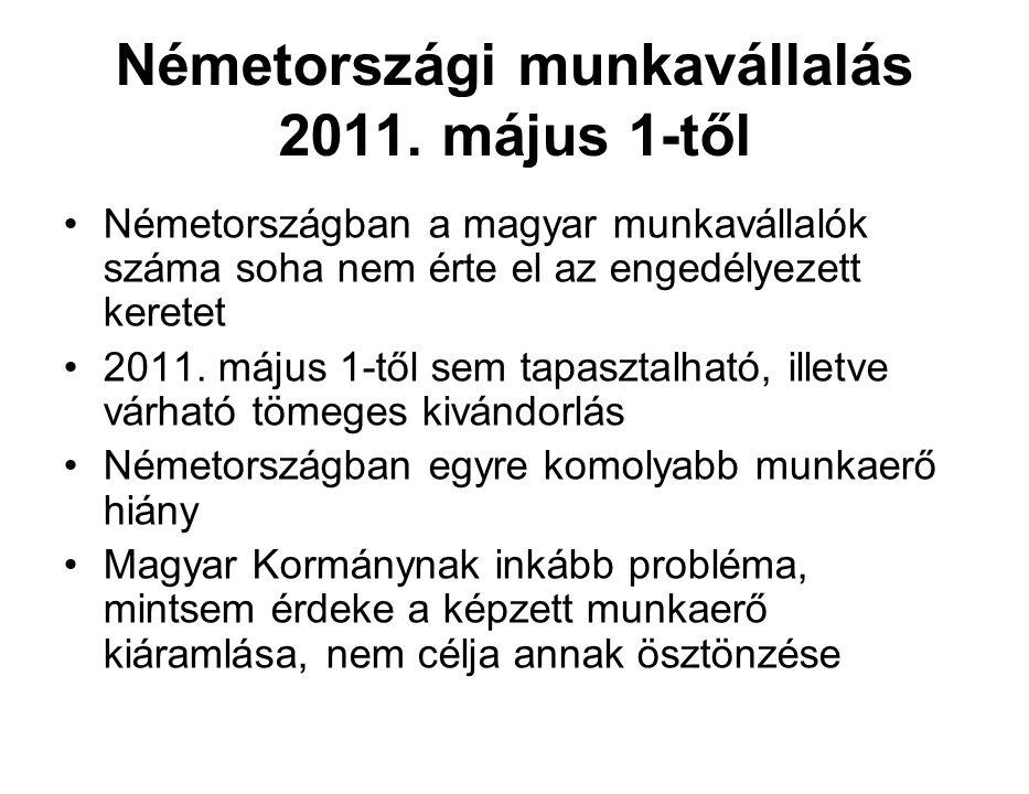 Németországi munkavállalás 2011. május 1-től Németországban a magyar munkavállalók száma soha nem érte el az engedélyezett keretet 2011. május 1-től s
