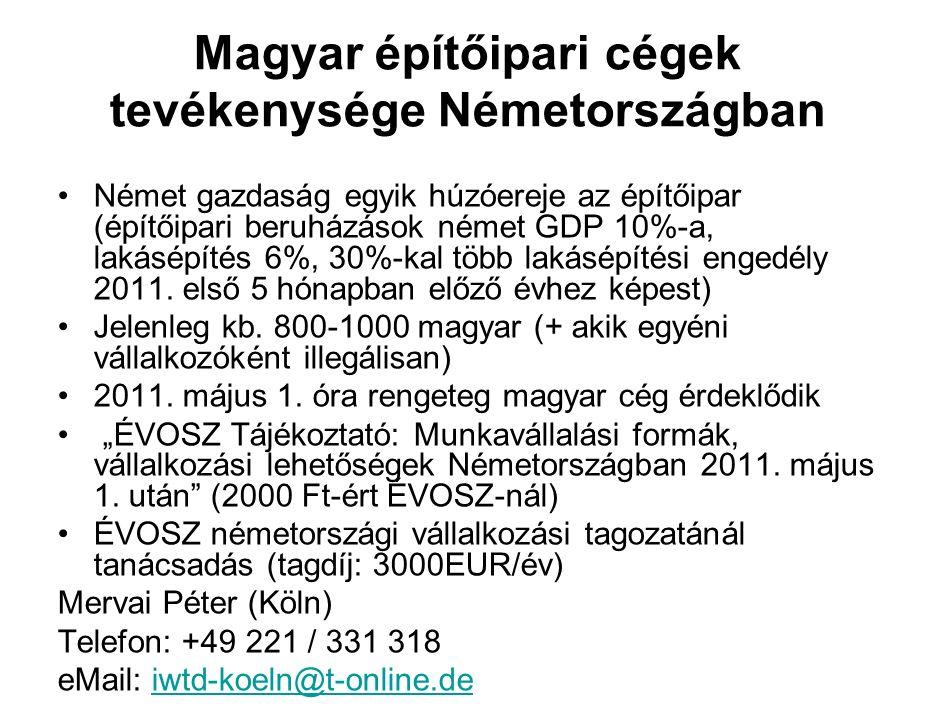 Magyar építőipari cégek tevékenysége Németországban Német gazdaság egyik húzóereje az építőipar (építőipari beruházások német GDP 10%-a, lakásépítés 6