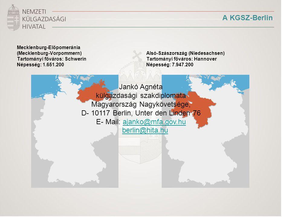 A KGSZ-Berlin Mecklenburg-Előpomeránia (Mecklenburg-Vorpommern) Tartományi főváros: Schwerin Népesség: 1.651.200 Alsó-Szászország (Niedesachsen) Tartományi főváros: Hannover Népesség: 7.947.200 Jankó Agnéta külgazdasági szakdiplomata Magyarország Nagykövetsége, D- 10117 Berlin, Unter den Linden 76 E- Mail: ajanko@mfa.gov.huajanko@mfa.gov.hu berlin@hita.hu