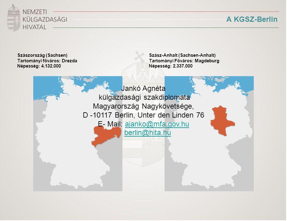 A KGSZ-Berlin Szászország (Sachsen) Tartományi főváros: Drezda Népesség: 4.132.000 Szász-Anhalt (Sachsen-Anhalt) Tartományi Főváros: Magdeburg Népesség: 2.337.000 Jankó Agnéta külgazdasági szakdiplomata Magyarország Nagykövetsége, D -10117 Berlin, Unter den Linden 76 E- Mail: ajanko@mfa.gov.huajanko@mfa.gov.hu berlin@hita.hu