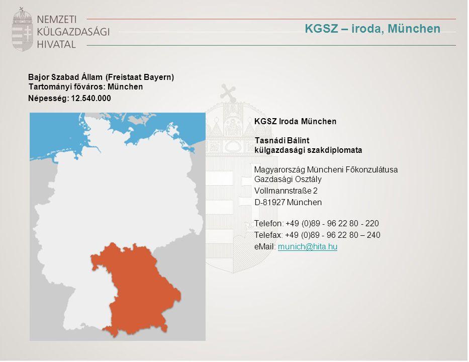 KGSZ – iroda, München Bajor Szabad Állam (Freistaat Bayern) Tartományi főváros: München Népesség: 12.540.000 KGSZ Iroda München Tasnádi Bálint külgazdasági szakdiplomata Magyarország Müncheni Főkonzulátusa Gazdasági Osztály Vollmannstraße 2 D-81927 München Telefon: +49 (0)89 - 96 22 80 - 220 Telefax: +49 (0)89 - 96 22 80 – 240 eMail: munich@hita.humunich@hita.hu