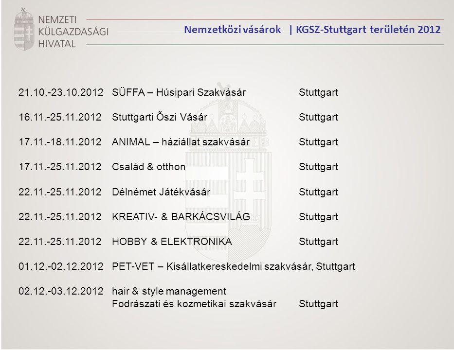 Nemzetközi vásárok | KGSZ-Stuttgart területén 2012 21.10.-23.10.2012 SÜFFA – Húsipari SzakvásárStuttgart 16.11.-25.11.2012 Stuttgarti Őszi VásárStuttg