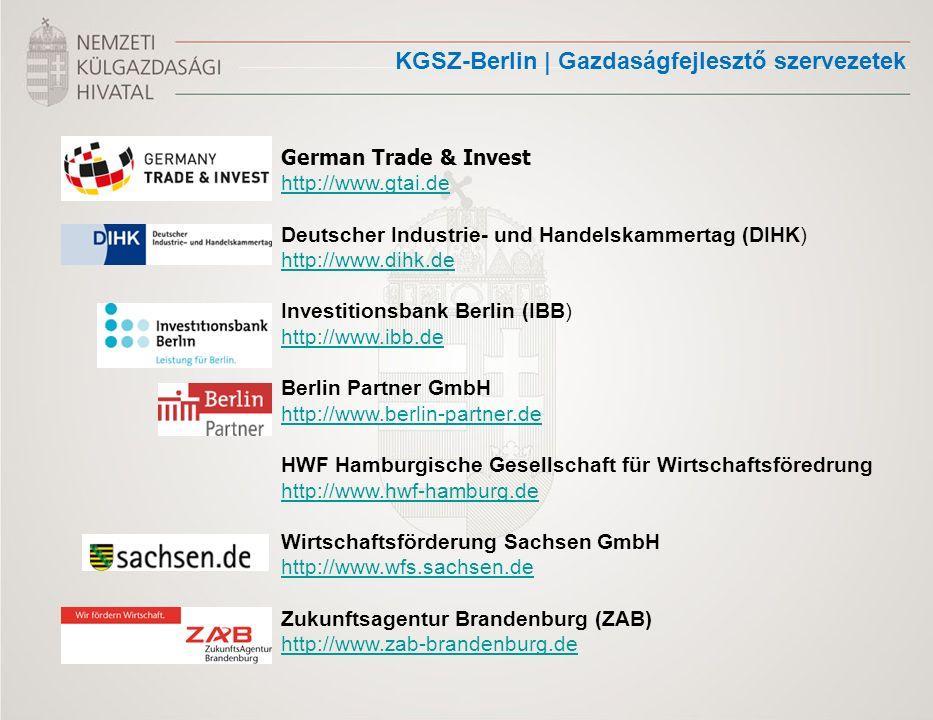 KGSZ-Berlin | Gazdaságfejlesztő szervezetek German Trade & Invest http://www.gtai.de Deutscher Industrie- und Handelskammertag (DIHK) http://www.dihk.de http://www.dihk.de Investitionsbank Berlin (IBB) http://www.ibb.de Berlin Partner GmbH http://www.berlin-partner.de HWF Hamburgische Gesellschaft für Wirtschaftsföredrung http://www.hwf-hamburg.de Wirtschaftsförderung Sachsen GmbH http://www.wfs.sachsen.de http://www.wfs.sachsen.de Zukunftsagentur Brandenburg (ZAB) http://www.zab-brandenburg.de