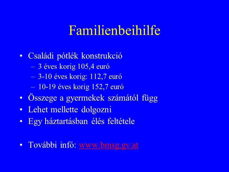 Familienbeihilfe Családi pótlék konstrukció –3 éves korig 105,4 euró –3-10 éves korig: 112,7 euró –10-19 éves korig 152,7 euró Összege a gyermekek számától függ Lehet mellette dolgozni Egy háztartásban élés feltétele További infó: www.bmsg.gv.atwww.bmsg.gv.at