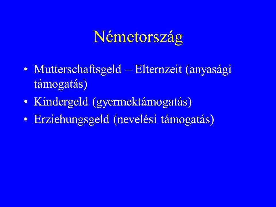 Németország Mutterschaftsgeld – Elternzeit (anyasági támogatás) Kindergeld (gyermektámogatás) Erziehungsgeld (nevelési támogatás)