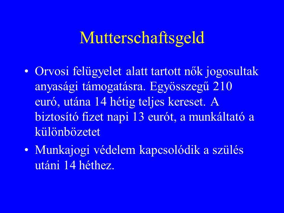 Mutterschaftsgeld Orvosi felügyelet alatt tartott nők jogosultak anyasági támogatásra.