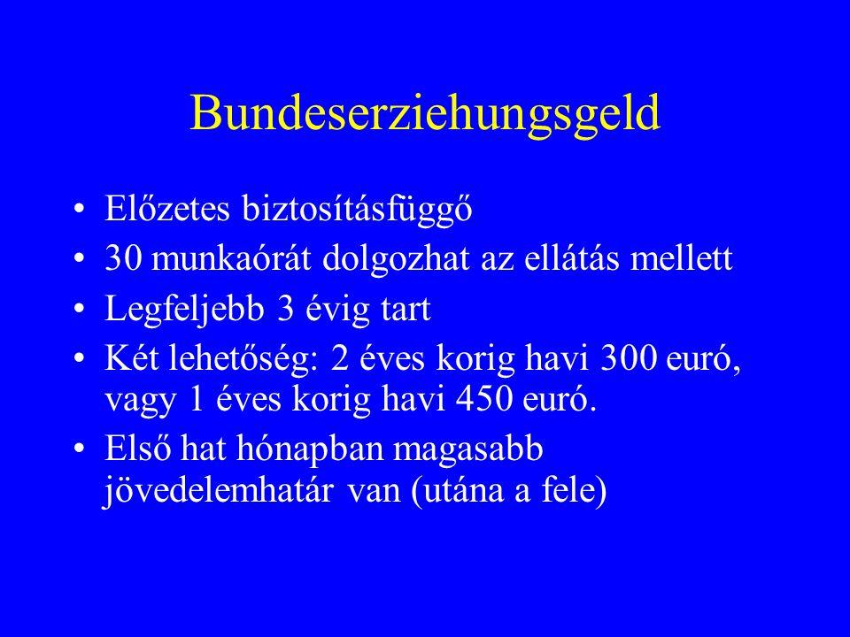 Bundeserziehungsgeld Előzetes biztosításfüggő 30 munkaórát dolgozhat az ellátás mellett Legfeljebb 3 évig tart Két lehetőség: 2 éves korig havi 300 euró, vagy 1 éves korig havi 450 euró.