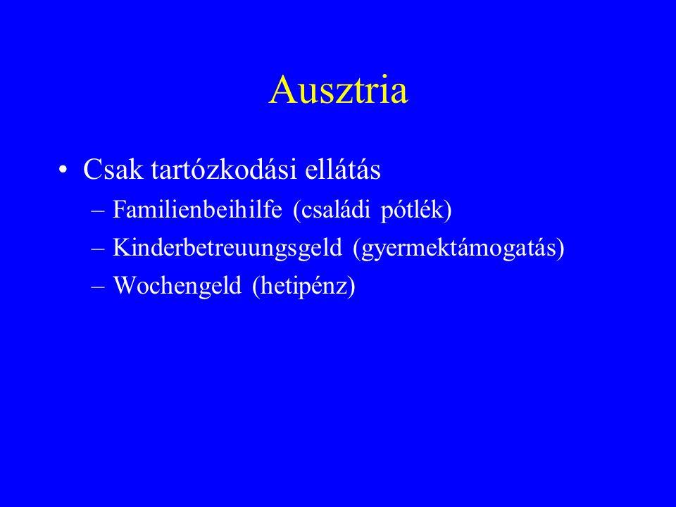 Ausztria Csak tartózkodási ellátás –Familienbeihilfe (családi pótlék) –Kinderbetreuungsgeld (gyermektámogatás) –Wochengeld (hetipénz)