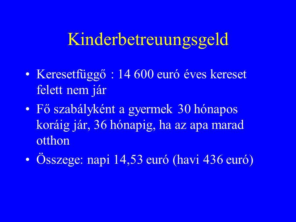 Kinderbetreuungsgeld Keresetfüggő : 14 600 euró éves kereset felett nem jár Fő szabályként a gyermek 30 hónapos koráig jár, 36 hónapig, ha az apa marad otthon Összege: napi 14,53 euró (havi 436 euró)