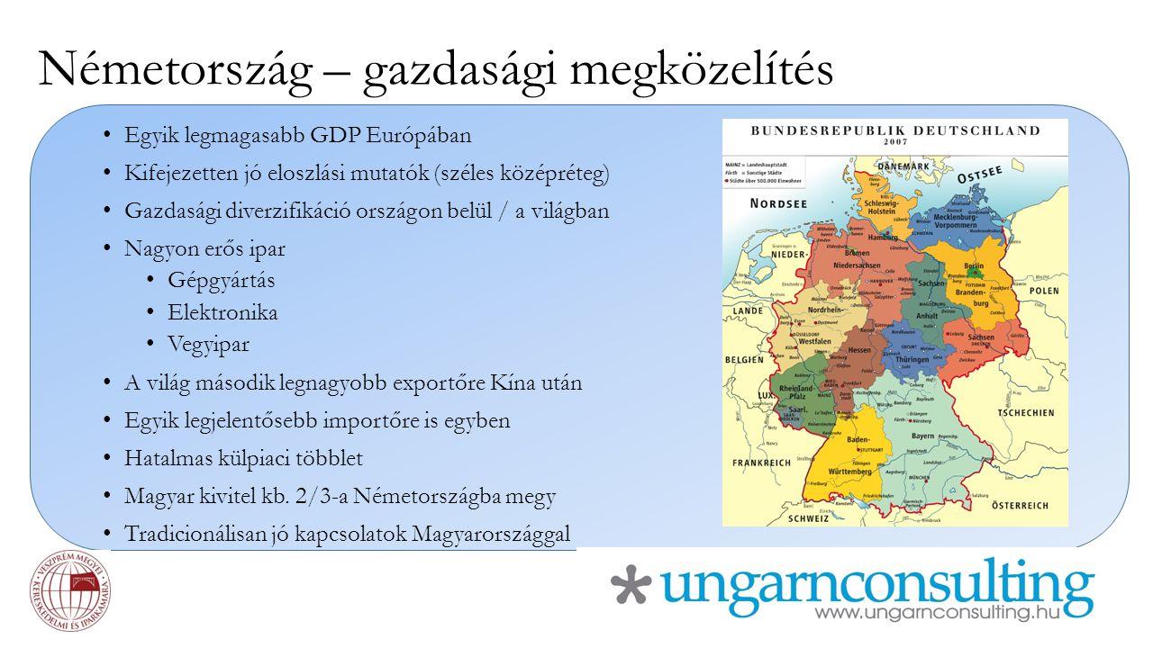 Németország – gazdasági megközelítés Egyik legmagasabb GDP Európában Kifejezetten jó eloszlási mutatók (széles középréteg) Gazdasági diverzifikáció or