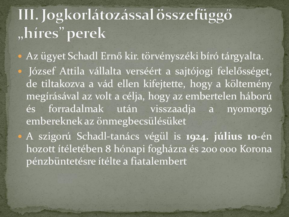 Az ügyet Schadl Ernő kir. törvényszéki bíró tárgyalta.