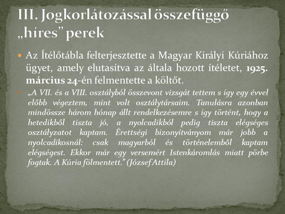 Az Ítélőtábla felterjesztette a Magyar Királyi Kúriához ügyet, amely elutasítva az általa hozott ítéletet, 1925.