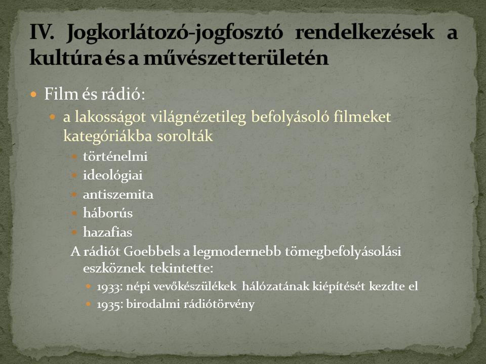 Film és rádió: a lakosságot világnézetileg befolyásoló filmeket kategóriákba sorolták történelmi ideológiai antiszemita háborús hazafias A rádiót Goebbels a legmodernebb tömegbefolyásolási eszköznek tekintette: 1933: népi vevőkészülékek hálózatának kiépítését kezdte el 1935: birodalmi rádiótörvény