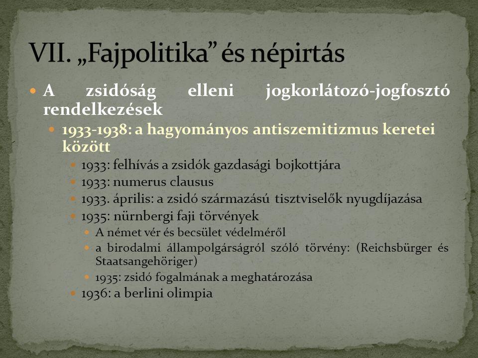 A zsidóság elleni jogkorlátozó-jogfosztó rendelkezések 1933-1938: a hagyományos antiszemitizmus keretei között 1933: felhívás a zsidók gazdasági bojkottjára 1933: numerus clausus 1933.