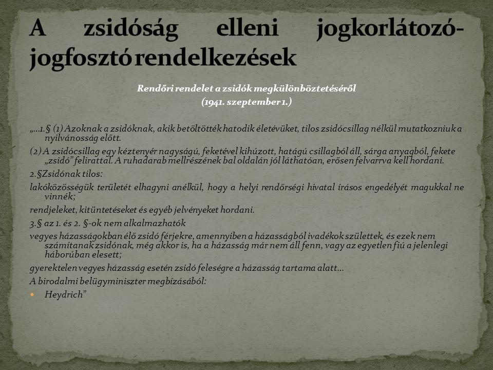 Rendőri rendelet a zsidók megkülönböztetéséről (1941.