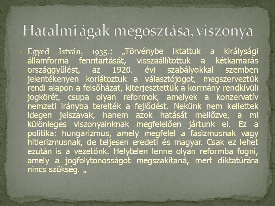 """ Egyed István, 1935.: """"Törvénybe iktattuk a királysági államforma fenntartását, visszaállítottuk a kétkamarás országgyűlést, az 1920."""