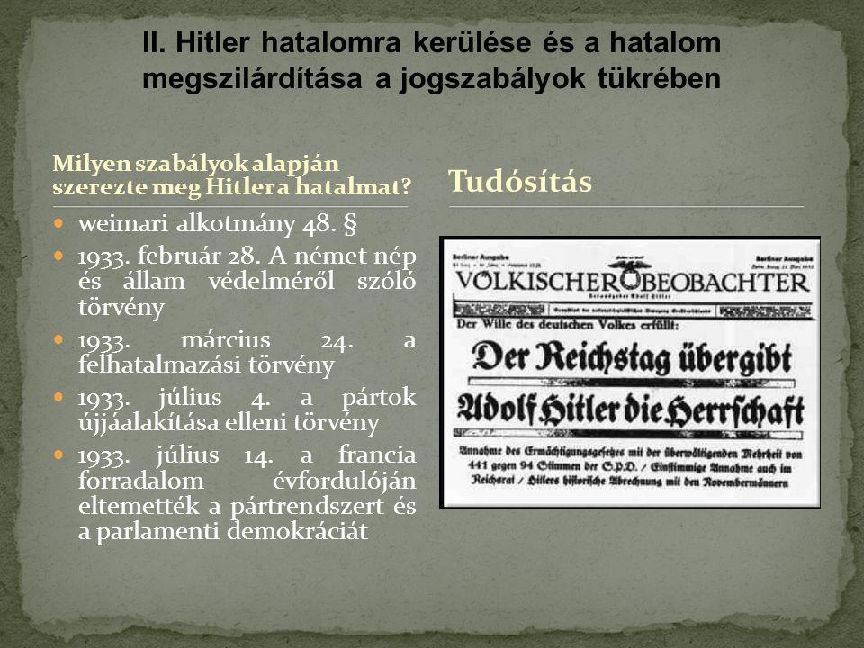 Milyen szabályok alapján szerezte meg Hitler a hatalmat.