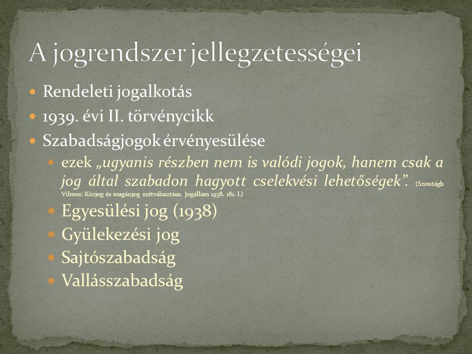 Rendeleti jogalkotás 1939. évi II.