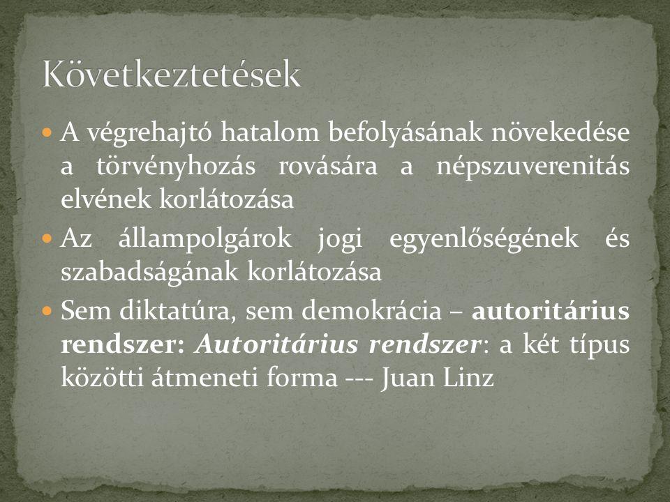A végrehajtó hatalom befolyásának növekedése a törvényhozás rovására a népszuverenitás elvének korlátozása Az állampolgárok jogi egyenlőségének és szabadságának korlátozása Sem diktatúra, sem demokrácia – autoritárius rendszer: Autoritárius rendszer: a két típus közötti átmeneti forma --- Juan Linz